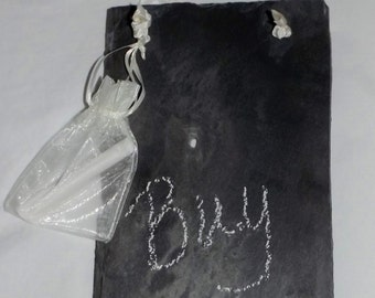 """Real slate chalkboard 5 1/2"""" x 11"""" hanging dorm room kitchen decor chalk included with satin pouch wall sign decor"""