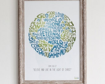 John 3 16 For God so loved the world Bible Verse Physical Print Illustrated faith, Scripture Print John 3:16-17 Size A3/A4