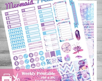 Mermaid Printable Planner Stickers, Fantasy stickers, Purple, Lilac, Blue, Sea, Shells, Crystals, florals, Weekly kit planner, for Eclp