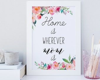 Home is where mom is wall art, Printable Mother's Day Print, Mothers Day Quote, mothers day gift, mothers print, floral print, print for mom