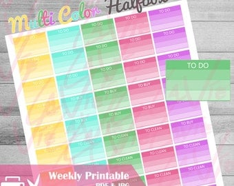 Printable Checklist Planner Stickers, Multicolor Checklist,  Instant Download for use with ERIN CONDREN LIFEPLANNER, To do Rainbow stickers