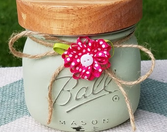 Shabby Chic, handpainted, distressed 16 oz. Mason Jar Soy Candle - Blueberry Jam Scent