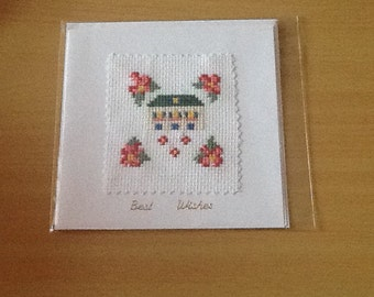 Cross Stitch New Home/ Best Wishes Card