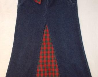 Denim and Plaid Jeans Skirt