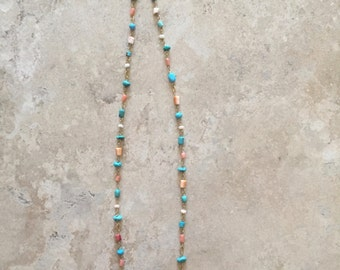 Gold-fill wire-wrap turquoise and coral necklace