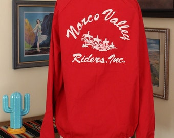 Late 1950's - 1960's Western Red Norco Riders Cowboy Lightweight Jacket Sportmaster