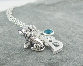 Puppy necklace, silver dog necklace, initial necklace, swarovski birthstone, personalized jewelry, gift for her, dog jewelry, new puppy gift