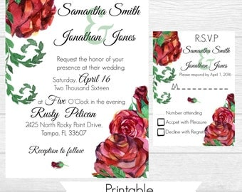 Red Rose Wedding Invitation/Invite - Printable - Custom