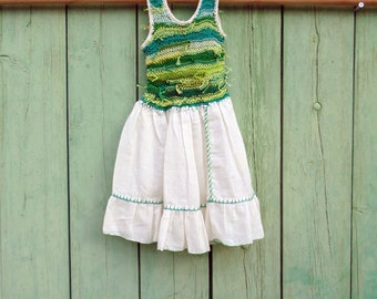 Dress crochet and cotton boho girl 2 or 3 years