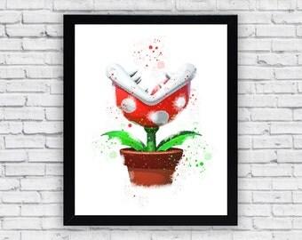 Piranha Plant Super Mario Bros Watercolor print, Piranha Plant Printable Wall Art, Piranha Plant Super Mario Bros poster