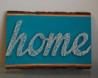 "String Art - ""home"" teal"
