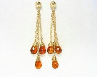 Madeira Citrine Gemstone Earrings, Post Dangle Earrings, November Birthstone, Citrine Gold Jewelry, Briolette Earrings, Gold Chain Earrings