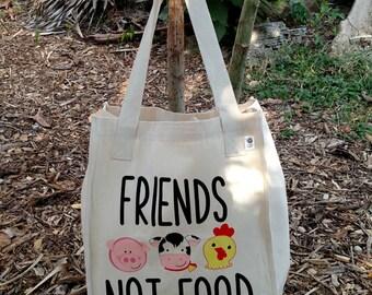 Friends Not Food Vegan Tote Bag