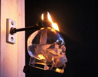 Skull vodka tiki torch, Skull vodka light, crystal head vodka light, liquor bottle tiki torch, tiki torch, wine torch, bottle torch, yard