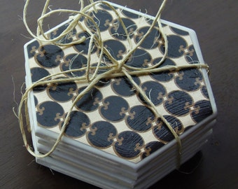 Gold and Black Hexagon Coasters