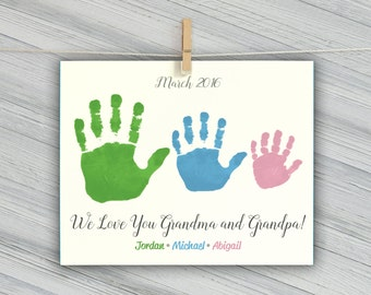 Sibling Wall Art - Sibling Handprint Art - Grandparents gift - Personalized family decor - Gift for Grandma - Unique Sibling Art