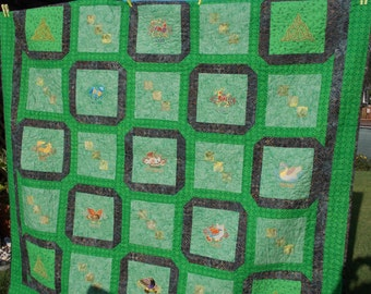 Embroidered Celtic Queen Size Quilt
