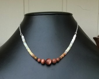 New - Sterling silver, opal and goldstone necklace.