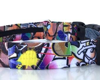 GRAFFITI DOG COLLAR, One of a Kind, Custom dog collar, Graffiti Dog Collar, dog collar