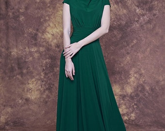Long emerald green dress with cap sleeve/ Emerald bridesmaid dress/ Emerald formal dress/ Sage evening dress/ Emerald party dress long