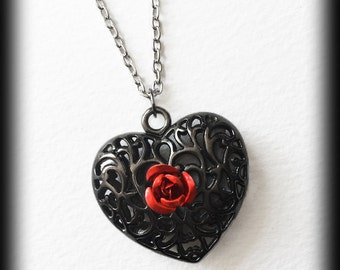 Gothic Victorian Necklace - Filigree Heart with Red Rose