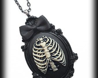 Gothic Steampunk Cameo Necklace - Anatomical Ribcage - Victorian