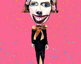 Giclee Print, BUNNY LADY, quirky lady, funky, bizarre, eccentric art, bunny ears, humorous, hybrid lady, hybrid art, playful, anthrpomorphic