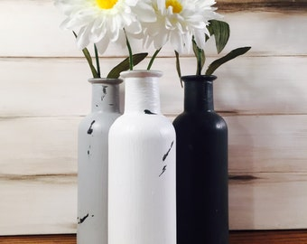 Bottleneck Vases Handmade Distressed Chalk Paint