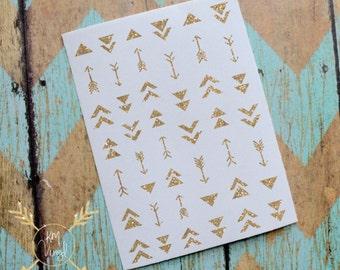 Trendy Arrows Glitter Vinyl Nail Decals, Triangles, Aztek