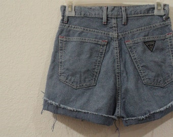 Vintage Guess Denim Cut Off Jean Shorts High Waist Pin Stripe Made In The USA Women's Juniors Size XS or Small