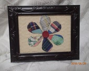 Vintage Quilt. Vintage Chenille. Vintage Buttons. Flower. Home Decor. Rustic Metal Framed Artwork. One-of-a-Kind.