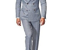 blue grey double breasted slim fit 2 piece custom fitted suit