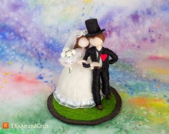 Cute Wedding Cake Topper - Needle Felted Dolls -  Bride and Groom