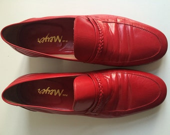 Red leather size 5.5 loafers