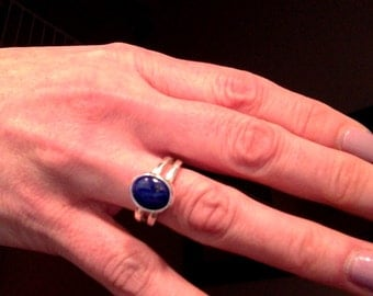 Lapis and Sterling Ring, Fine Silver, Handmade Ring, ON SALE, Sterling Silver, Lapis Stone Rings, One of a kind designs