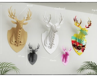 DEER HEAD 3D PUZZLE - Template cutting file - faux taxidermy - laser, wall art, faux deer head, animal head, deer antlers, wooden puzzle