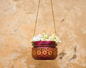 HANGING lantern, moroccan lantern, bohemian candle lantern, outdoor lighting, garden decor, painted jar lantern, painted glass lantern, boho