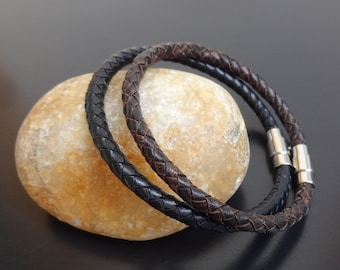 mens braided leather bracelet, black or brown braided leather bracelet, braided leather bracelet with magnetic clasp, bolo leather bracelet