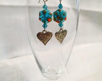Blue millefiori beads and heart dangle earrings