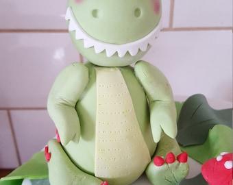 Cute Handmade Dinosaur Cake Topper