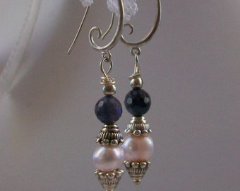 Earrings with Labradorite, pearls and Silver, 50 mm