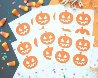 24 Pumpkin Stickers, Halloween Stickers, Halloween Decorations,Orange,Halloween Favors,Fall Decor,Fall Stickers,Envelope Seal,Planner