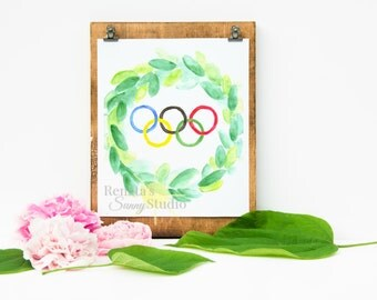 Olympic games Olympics Laurel wreath Printable Wall art Watercolor Digital print Rio Summer Party decor Olympic rings Sports 8x10 ID17-81