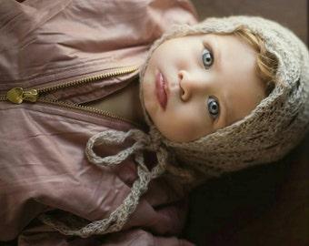 Crochet Diamond Lace Bonnet, crochet baby bonnet, crochet pixie bonnet, white crochet bonnet, lace bonnet, vintage crochet bonnet