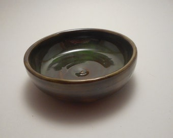 Dark Green Stoneware Ceramic Bowl, Handmade Pottery, Hand Thrown, Hand Painted, kitchenware, dipping bowl (B0024)
