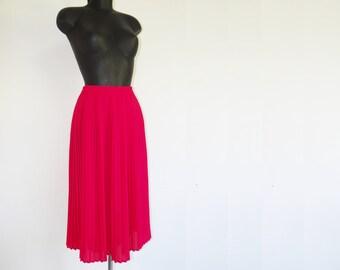 Retro Hot Pink Pleated Midi Skirt, Boho Fashion, 1990's