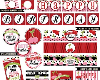 Cherry Treats Digital Printable Girls Summer Fruit Birthday Party Printables Package INSTANT DOWNLOAD