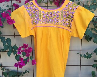 Yellow Mexican floral blouse M/XL