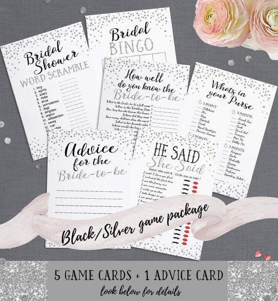 Bridal Shower Printable Games Package - Includes Advice Card - Instant Download - Black and Silver Glitter Bridal Shower Games Package