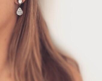 Ophelia Pave Earrings - Gun metal pave crystal earrings